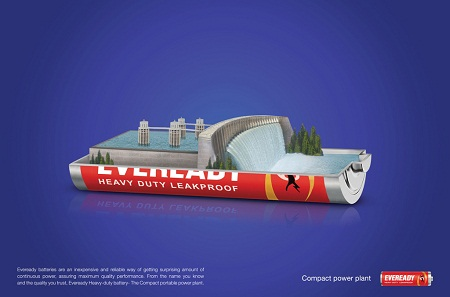 Eveready Heavy Duty Battery amusing and humorous print ads