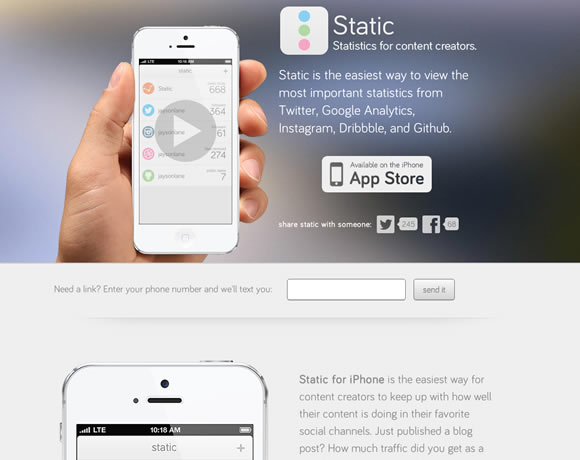 Static iphone app website