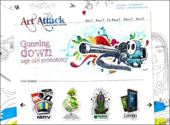 Art Attack - Website design using drawings and illustration