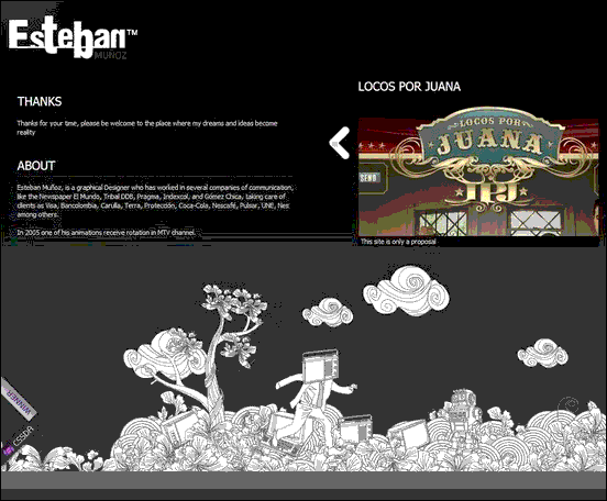 Esteban Muñoz - Website design using drawings and illustration