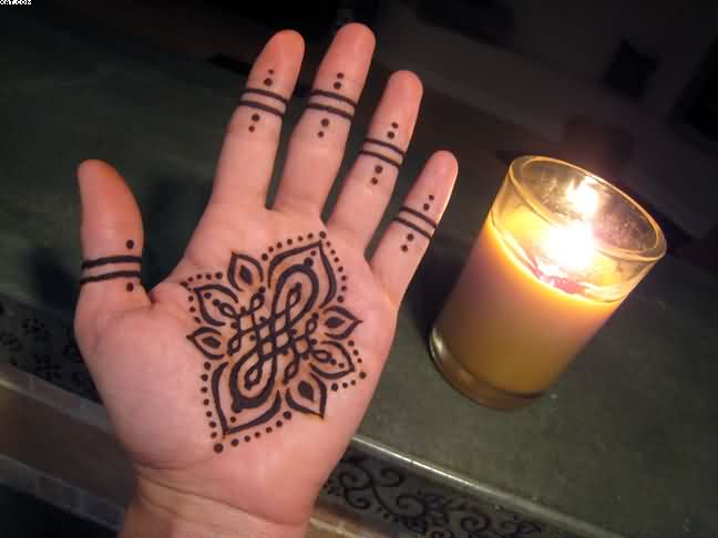 Fire Henna Tattoo On Hand