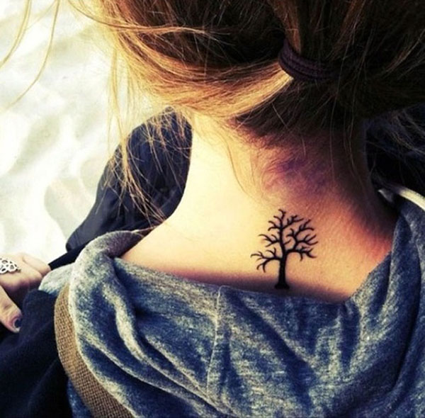 small tree tattoo on neck