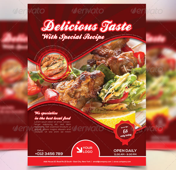 19 free premium restaurant flyer templates psd desiznworld for Free food brochure templates