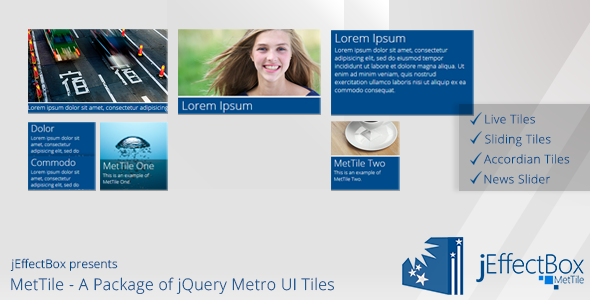 MetTile A Package of jQuery Metro UI Tiles