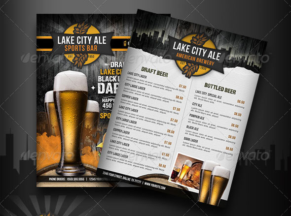 sports bar menu templates .