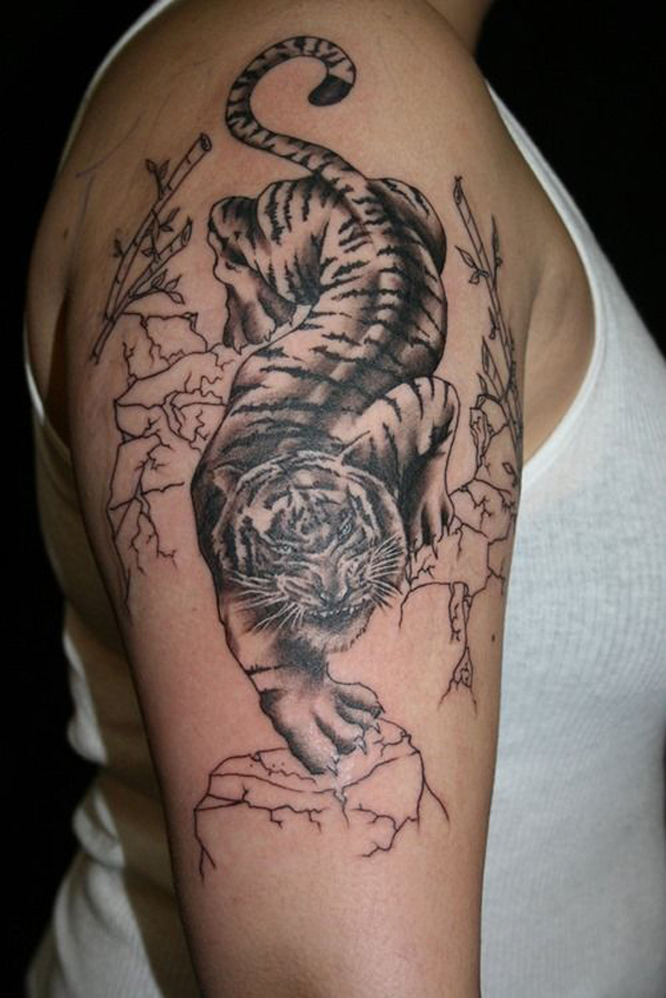 Half Sleeve Tiger Tattoo for Men