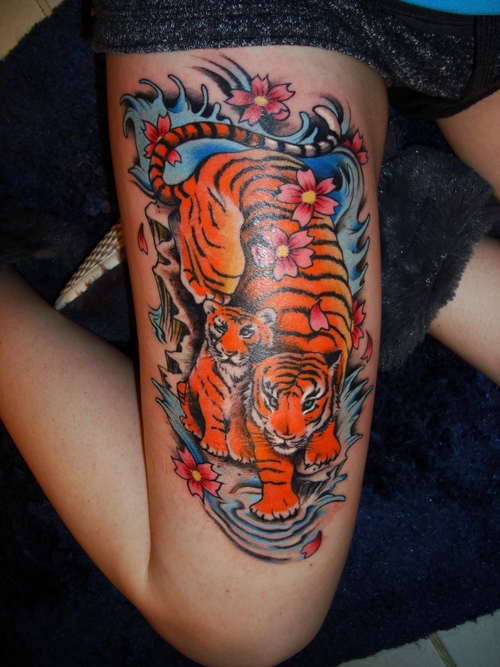 Japanese Tiger Tattoo On Thigh