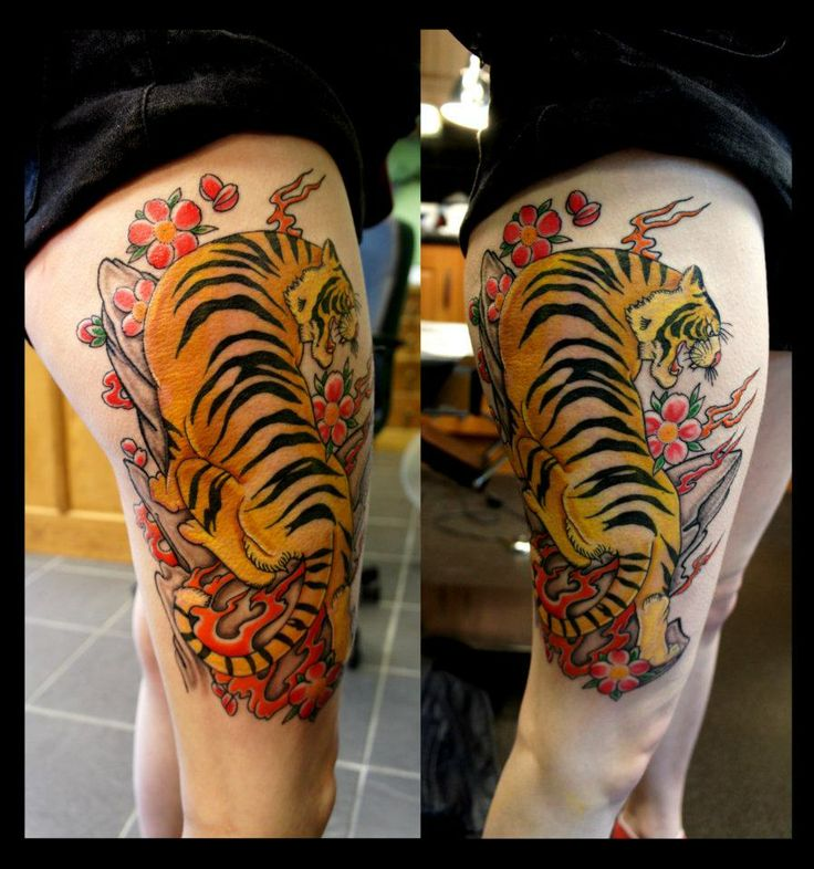 flower & Tiger Thigh Tattoo