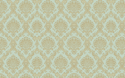 Teal Gold Damask
