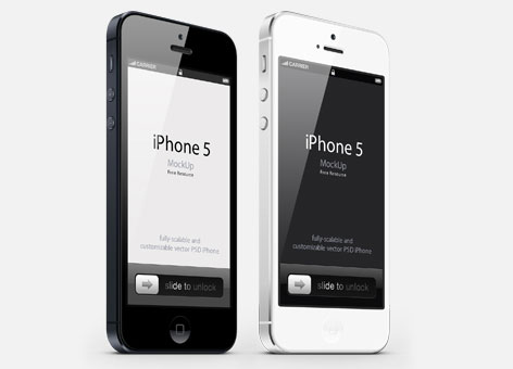 iphone 5 mobile celular mock up psd three quarters perspecti1 12 Free iPhone, iPad, iMac PSD Mockup