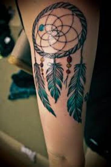 Dreamcatcher tattoo on leg