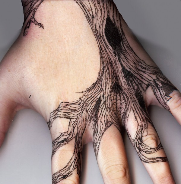 tree tattoo on hand