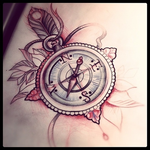 40 awesome compass tattoos desiznworld. Black Bedroom Furniture Sets. Home Design Ideas