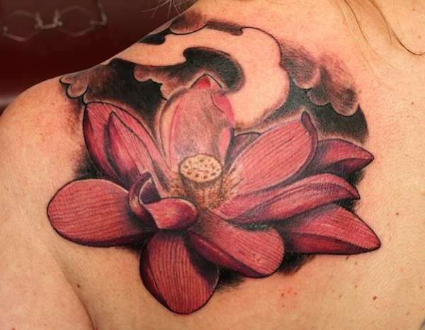lotus flower on shoulder