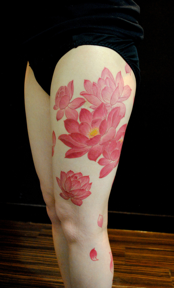 lotus flower on thigh