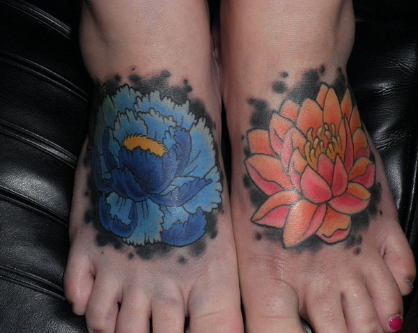 lotus flower on foot
