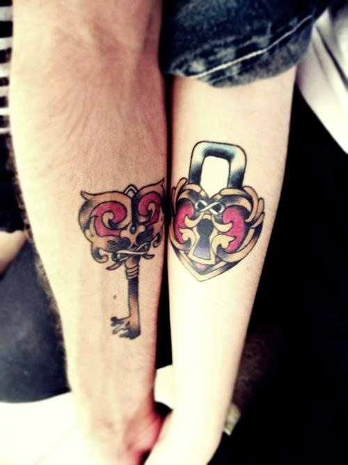 Heart and key couple tattoo