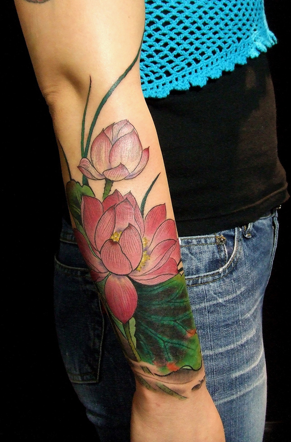 lotus flower on hand