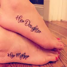 mother & daughter tattoo on foot