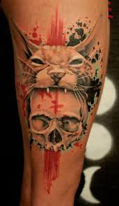 Skull tattoo on leg