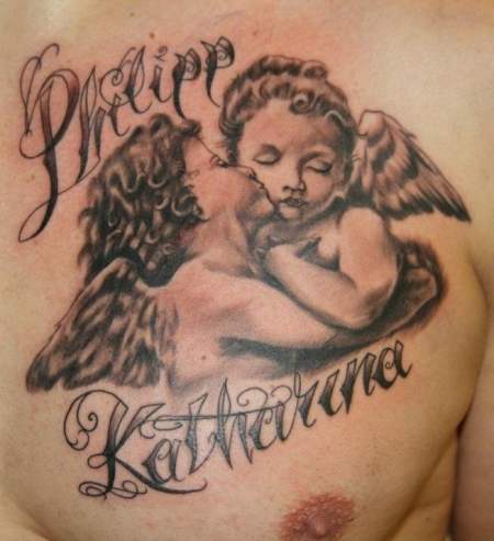 Angels on back tattoo