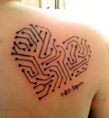 Circuit heart tattoo