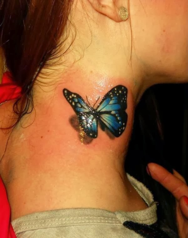3D butterfly tattoo on neck
