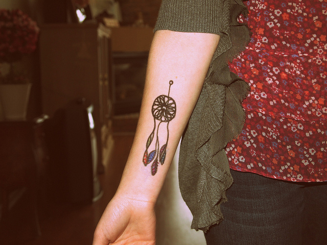 Dreamcatcher tattoo on hand