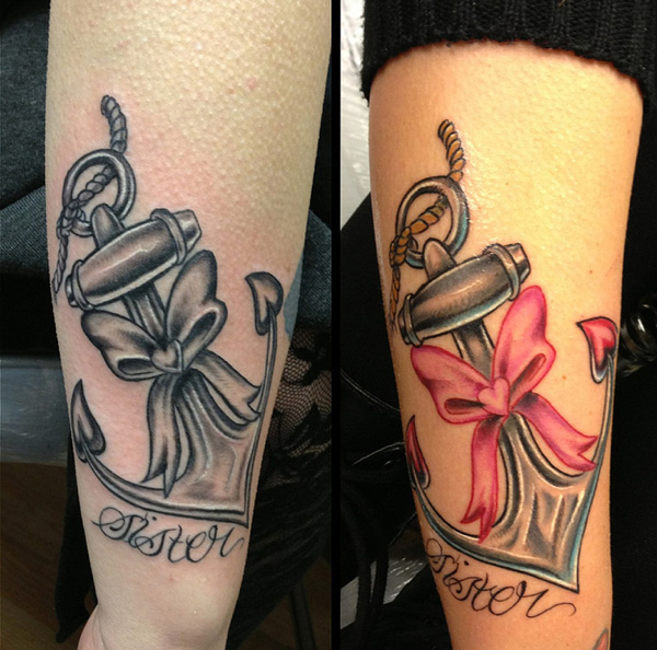 Sister Anchor Tattoos Matching anchor tattoos for