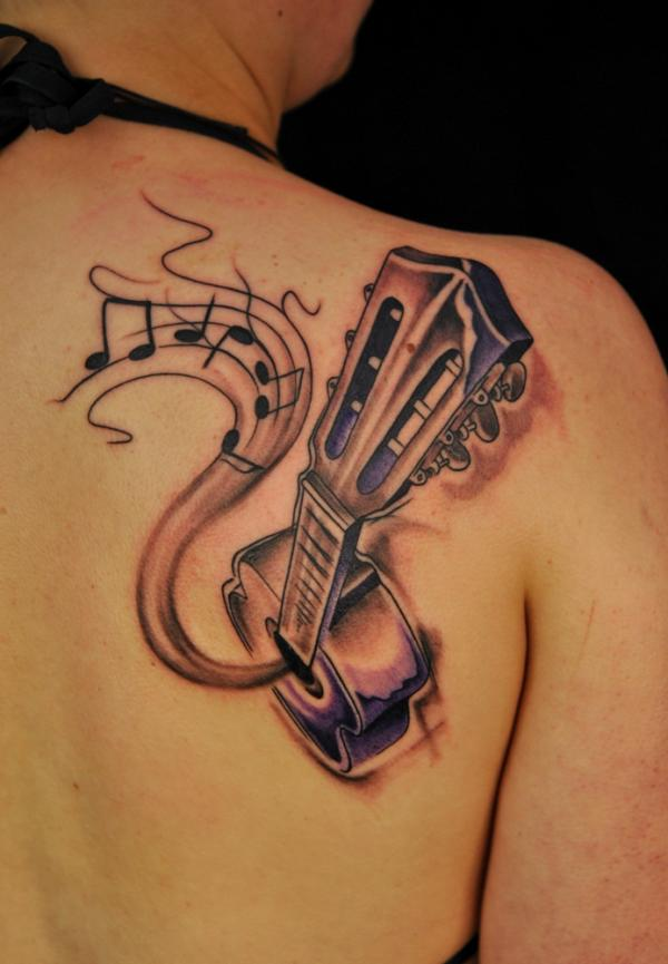 Guitar tattoo on back