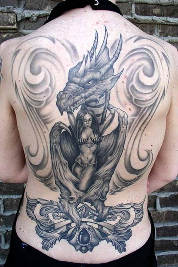 Dragon tattoo with girl on back