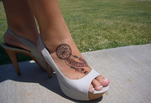 Dreamcatcher tattoo on foot