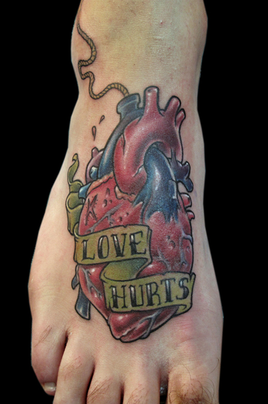 Heart tattoo on foot