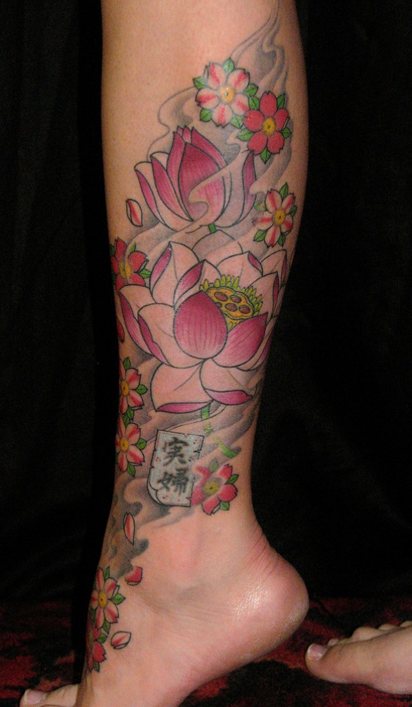 lotus flower on leg