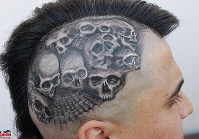 Skull tattoo on head