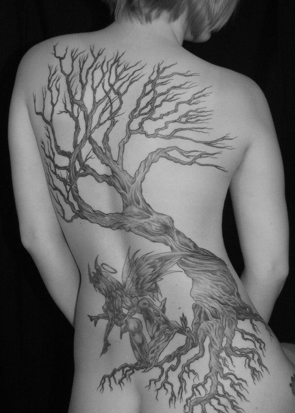 big tree tattoo on back