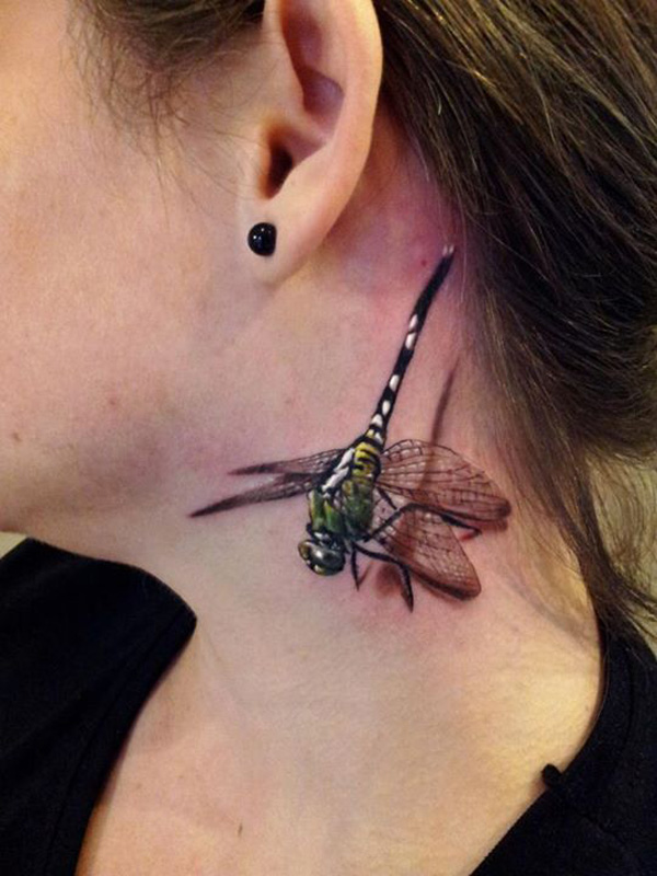 3D dragonfly tattoo on neck