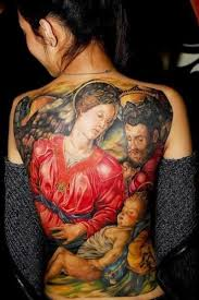 Mother marry and Jesus tattoo on back