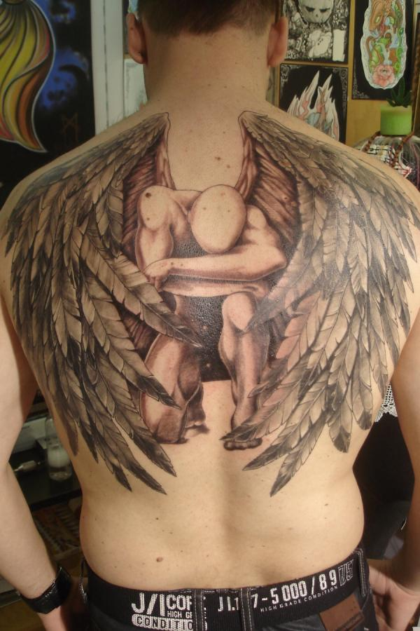 Back angel tattoo