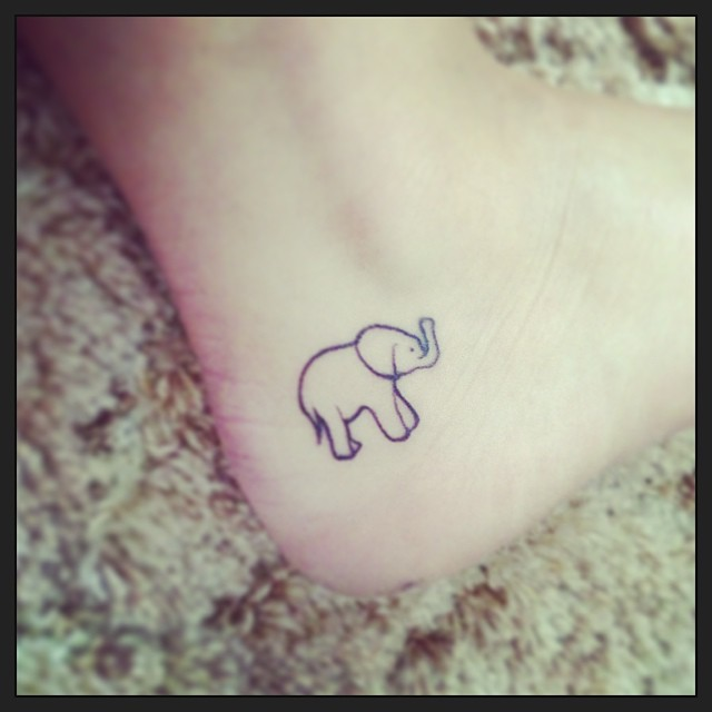 Elephant tattoo on heel