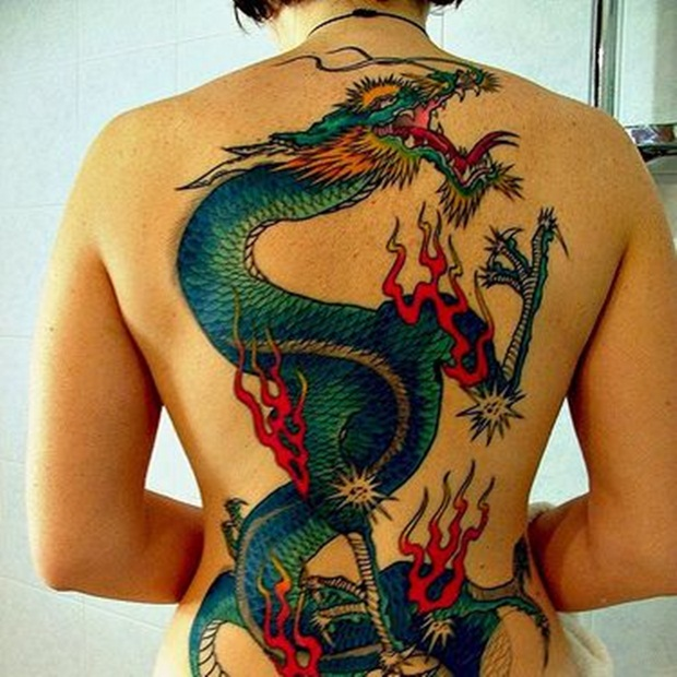 Dragon tattoo on back
