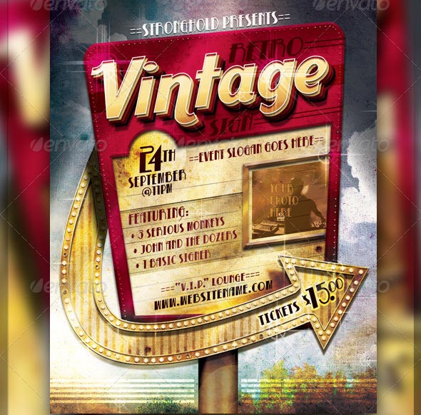 25 Beautiful Vintage Movie Posters PSD Desiznworld – Retro Flyer Templates