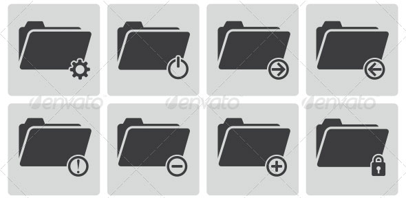 Vector-Black-Folder-Icons-Set