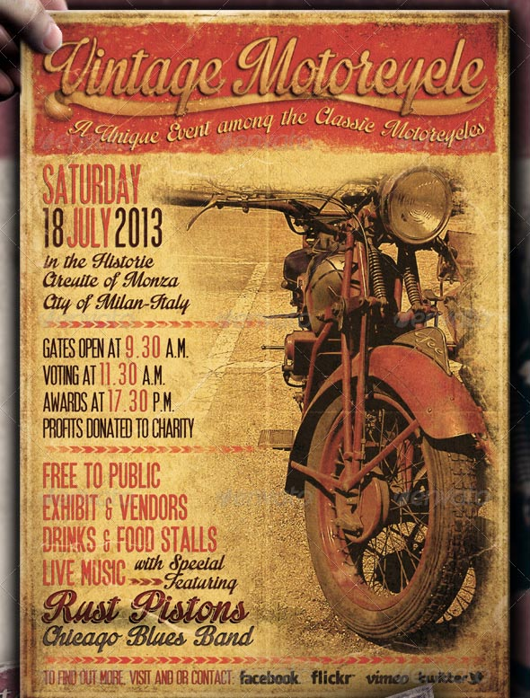 Vintage Motorcycle Flyer Poster Vol