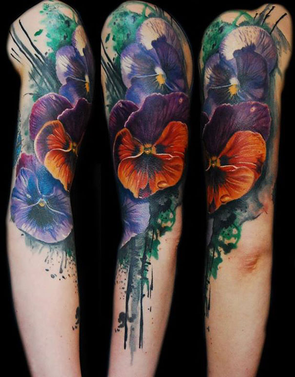 Watercolor tattoo sleeves
