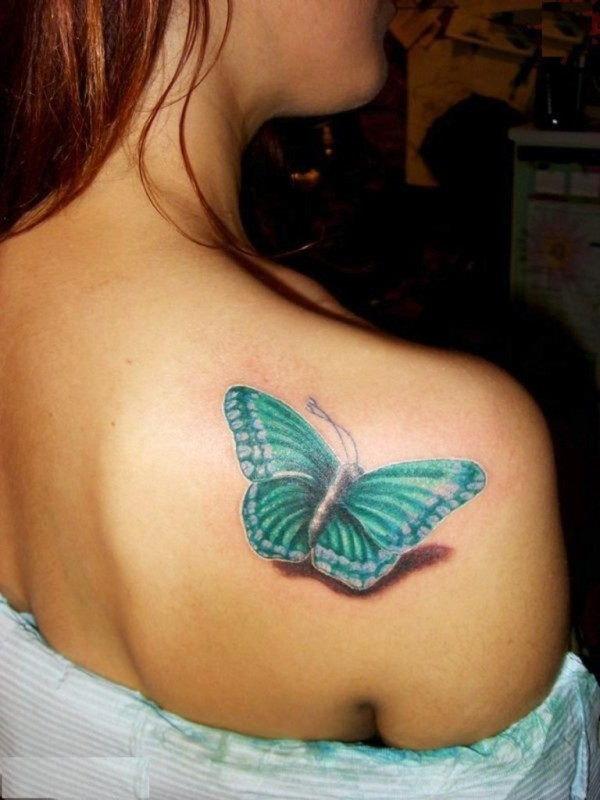 3D butterfly tattoo on back