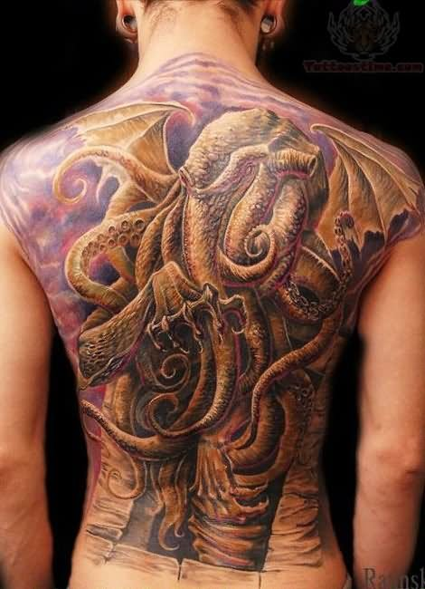 Octopus tattoo on back