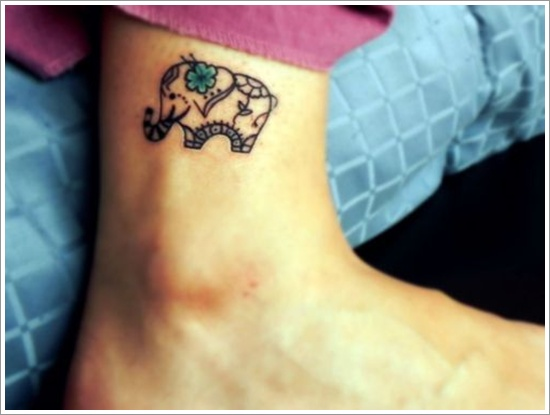 Elephant tattoo on foot
