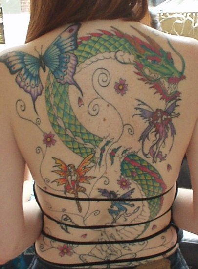 Butterfly & Dragon tattoo on back