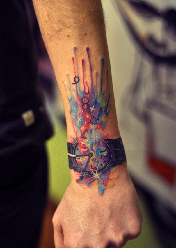 Watercolor tattoo on hand